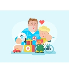 Father and son with toy vector image
