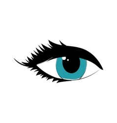 Female blue eye look icon graphic vector