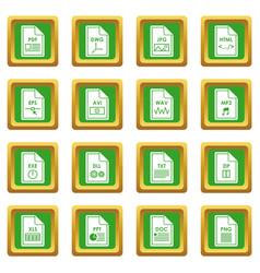 file format icons set green vector image