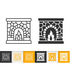 Fireplace simple open fire black line icon vector