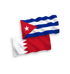 Flags cuba and bahrain on a white background vector