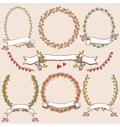 Floral Laurels Ribbons Wreaths vector image