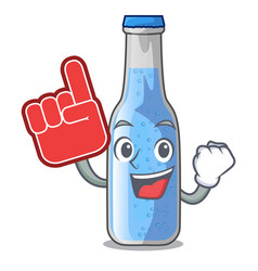 foam finger bottle soda water isolated on mascot vector image