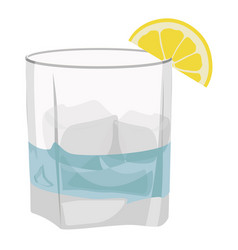 Glass of gin tonic with lime and ice isolated on vector