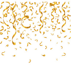 gold glitter confetti and serpentine vector image