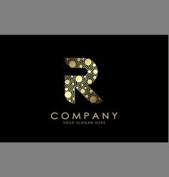 Golden dots letter r logo design vector