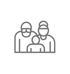 grandparents with grandchild couple pensioners vector image