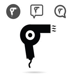 Hairdryer icon set in black vector