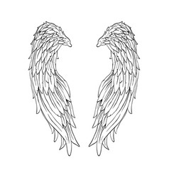 Hand drawn angel wings valentines day banner vector