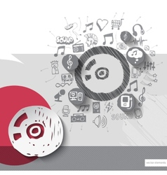 Hand drawn disc icons with icons background vector