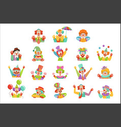 Happy cartoon friendly clowns character colorful vector