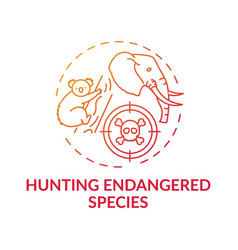 Hunting endangered species red gradient concept vector