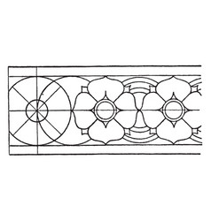 Indian carving rosette band is a design of a vector
