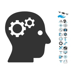 Intellect Gears Icon With Air Drone Tools Bonus vector