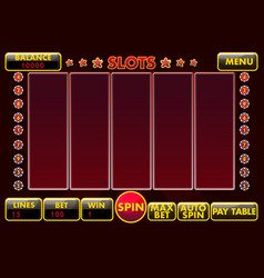 interface slot machine in black-red colored vector image