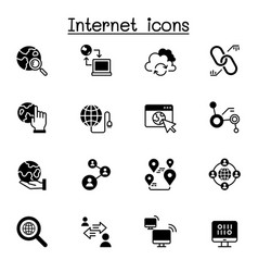 Internet connection icon set graphic design vector