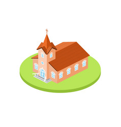 Isometric church icon for web design and vector