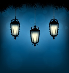 Lanterns with pine on blue vector