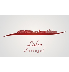 Lisbon V2 skyline in red vector