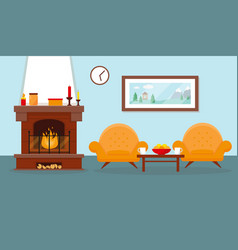 living room with fireplace and furniture vector image