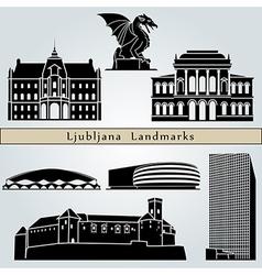 Ljubljana landmarks and monuments vector