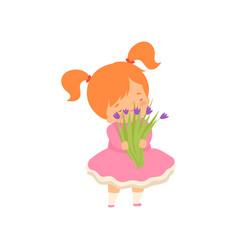Lovely little girl with bouquet wild flowers vector