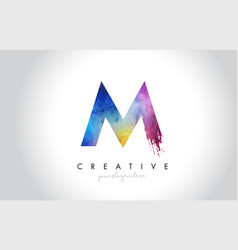 m paintbrush letter design with watercolor brush vector image