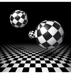 Magic balls over the checkered floor vector