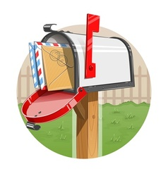 Mail box with letters vector