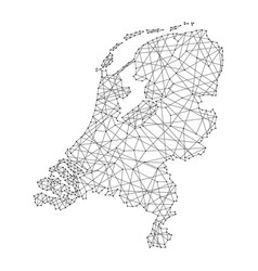 Map of netherlands from polygonal black lines vector