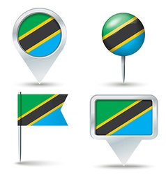 Map pins with flag of Tanzania vector