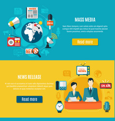 Mass media and news release horizontal banners vector