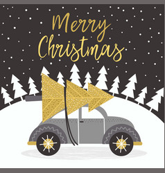 merry christmas gold card with car vector image