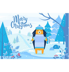 merry christmas hedgehog in winter forest vector image