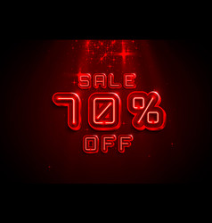 Neon frame 70 off text banner night sign board vector