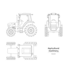 Outline blueprint tractor side front top view vector