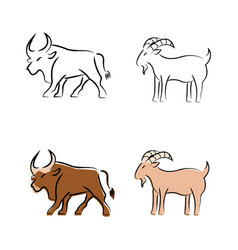 Outline draw animals vector