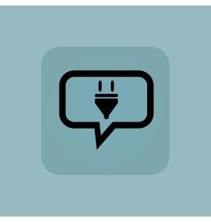 Pale blue plug message icon vector