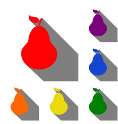 pear sign set of red orange yellow vector image