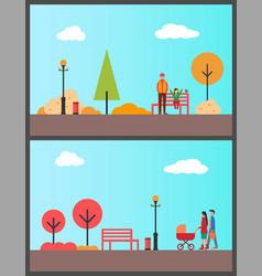 People walking in park with stroller autumn season vector