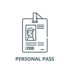 personal pass line icon linear concept vector image