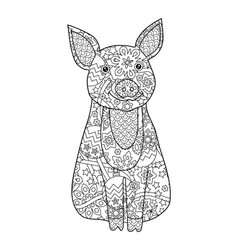Pig simbol of new year 2019 in zentangle inspired vector