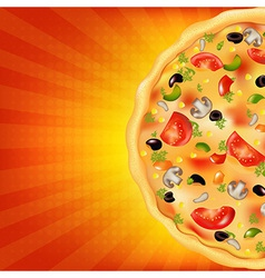 Pizza Poster With Sunburst vector image