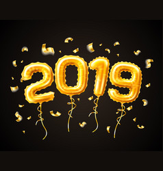 realistic 2019 gold air balloons confetti new year vector image