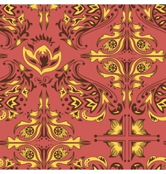 Red and yellow damask pattern vector image