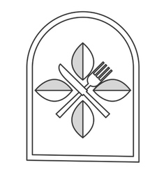 Restauran emblem with leaves and utensils icon vector