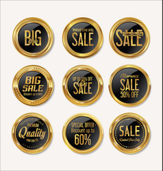 sale retro vintage gold and black badges and vector image