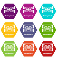 Sankey chart icons set 9 vector