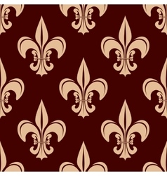 Seamless brown fleur-de-lis floral pattern vector image