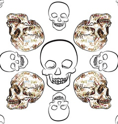 Seamless pattern of skull vector image